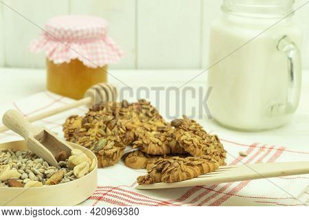 Making Delicious And Healthy Recipe Homemade Cookies. Vegetarian Homemade Biscuits. Healthy Food Con