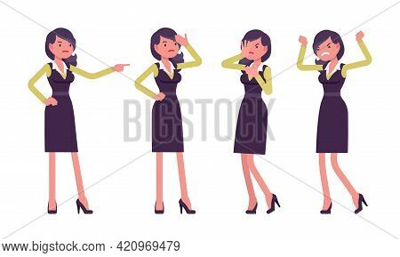 Attractive Businesswoman, Woman In Formal Secretary Pencil Office Dress, Standing. Successful Manage