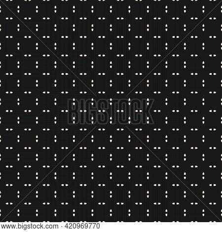 Black And White Vector Minimalist Seamless Pattern. Subtle Minimal Geometric Ornament, Abstract Mono