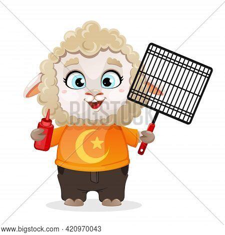Eid Al-adha Mubarak. Funny Cartoon Character Ram Holding Barbeque Grid And Ketchup. Kurban Bayrami.