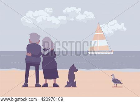 Active Seniors, Elderly People Standing On Beach In Hug, Rear. Couple Of Older Adults Enjoying Ocean