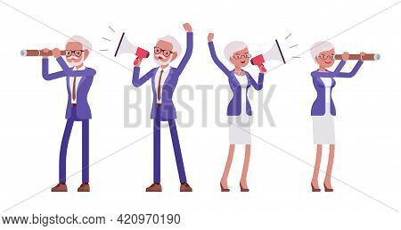 Handsome Old Man, Woman, Elderly Businesspeople With Megaphone, Spyglass. Bossy Senior Manager, Gray
