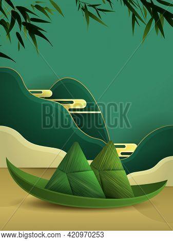 Dragon Boat Festival paper graphic origami rice dumpling  paper graphic scene  background.