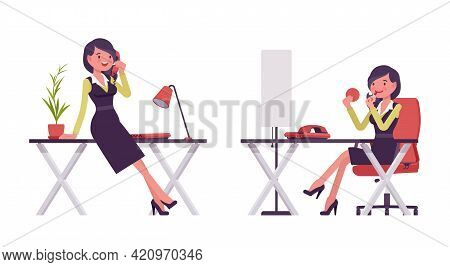 Businesswoman In Secretary Office Dress Chatting On Phone, Applying Makeup. Successful Female Manage