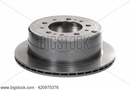 Brake Disc Combined With The Drum Brake Isolated Over White Background