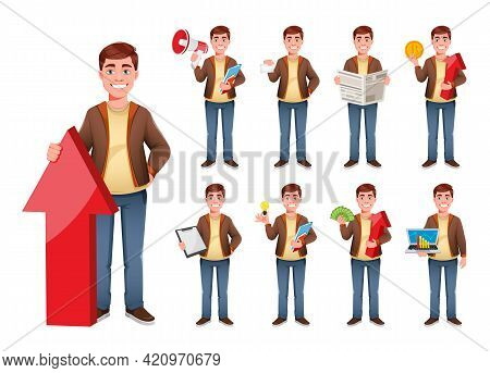 Handsome Business Man Cartoon Character, Set Of Nine Poses. Young Businessman. Stock Vector Illustra