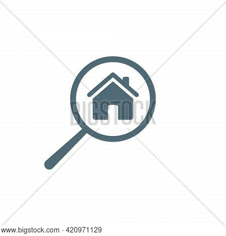 House Search Icon. Building Symbol With Magnifying Glass. Home And Loupe Blue Sign. Zoom Instrument.