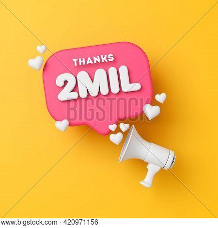 2 Million Followers Social Media Thanks Banner. 3d Rendering