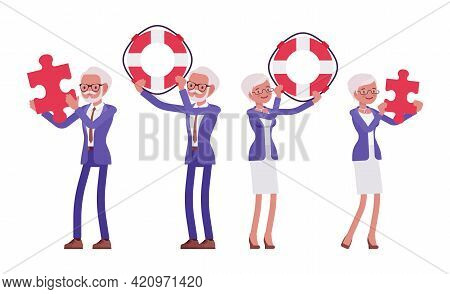 Handsome Old Man, Woman, Elderly Businesspeople With Puzzle, Safe Ring. Bossy Senior Manager, Gray H