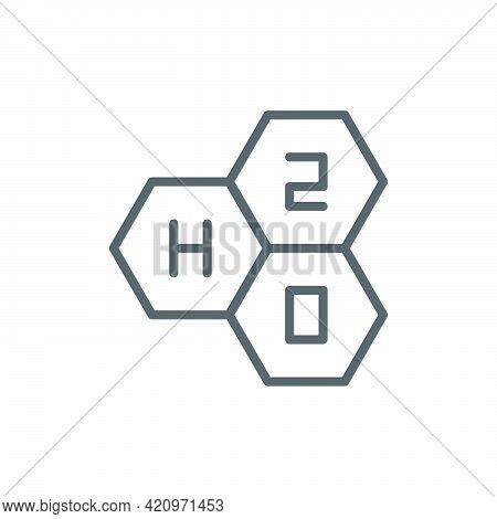 Chemical Formula H2O Vector Icon Symbol Isolated On White Background
