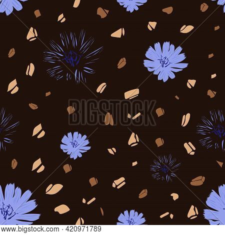 Seamless Pattern With Chicory Drink. Flowers Chicory For Wallpaper Design. Vector Print Illustration