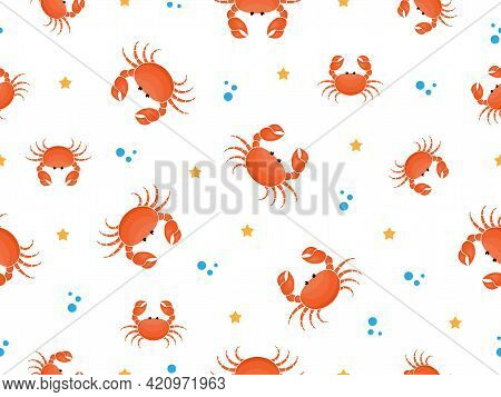 Seamless Pattern With Cartoon Crabs. Crab Cute Pattern Background. Vector Illustration On White