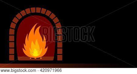 Burning Fire In Fireplace. Cartoon. Vector Illustration.