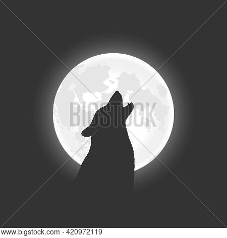 Wolf Howls At The Moon. Wolf On The Background Of The Moon At Night Graphic Poster. Vector Illustrat