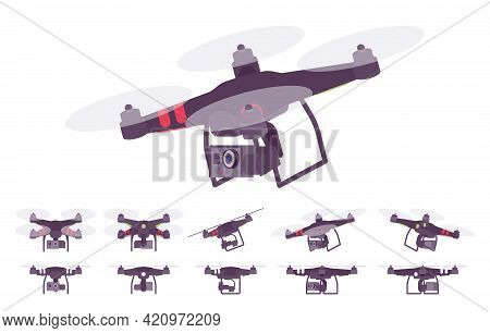 Quadcopter Set, Unmanned Helicopter With Four Rotors, Camera. Aerial Shooting Video And Photography.