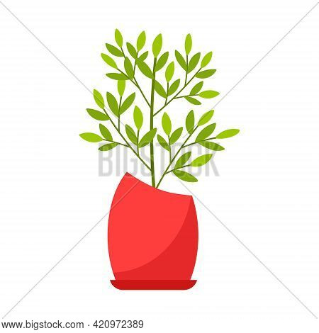 Indoor Plant, Ficus In A Red Pot. Home Deciduous Plant. Vector Illustration In Flat Cartoon Style, I