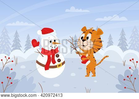Cute Cartoon Tiger With A Snowman. Winter Landscape With A Forest. The Symbol Of The Year. Animal Ch