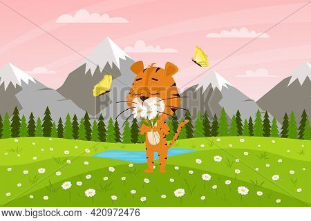 Cute Cartoon Tiger Sniffs Flowers On The Background Of Mountains And Fields. Spring Landscape. The S