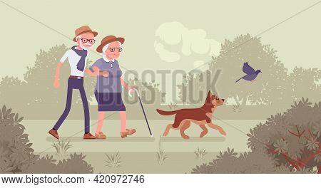 Active Seniors, Happy Healthy Elderly People Walking Through The Park. Couple Of Older Adults Enjoyi