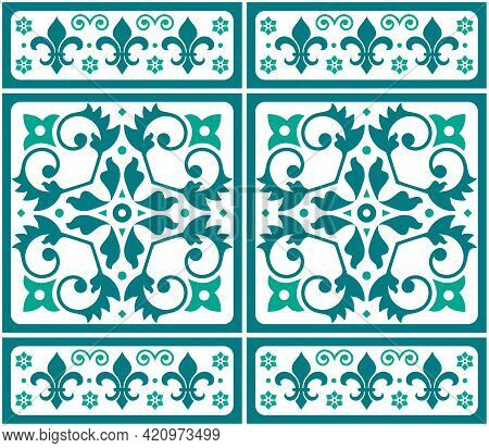 Lisbon, Portuguese Style Azulejo Tile Seamless Vector Green And White Pattern, Elegant Decorative De