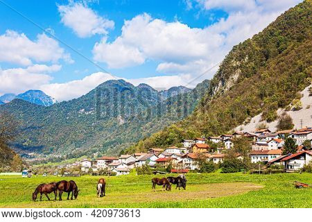 Picturesque Julian Alps. Small village in mountain valley. Beautiful autumn day. Charming pastoral. Green grassy lawns in a mountain valley. Travel to Slovenia.