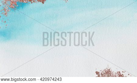 Shimmering blue watercolor stain background