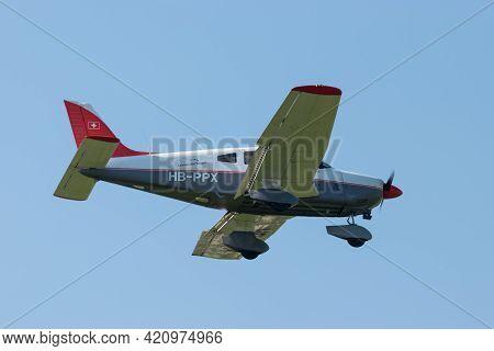 Piper Pa-28-181 Archer Aircraft Is Approaching At The Airport Saint Gallen Altenrhein In Switzerland