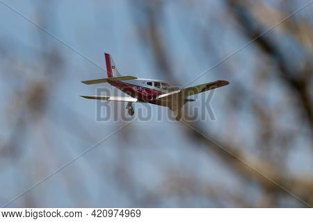 Piper Pa-28-r201 Arrow Aircraft Is Approaching At The Airport Saint Gallen Altenrhein In Switzerland
