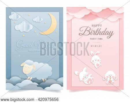 Vector Illustration Greeting Card Set For A Baby Shower On A Pink And Blue Background, Cute Design P