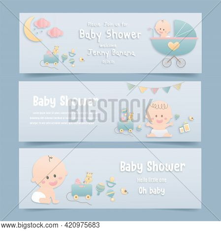Vector Illustration Greeting Card Set For Baby Shower On Pink Background, Cute Design Papercraft Bab