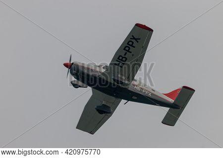 Piper Pa-28-181 Archer Aircraft Is Departing From The Airport Saint Gallen Altenrhein In Switzerland