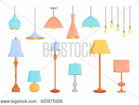 Set Of Modern Lamps. Cartoon Vector Illustration. Colorful Chandeliers Hanging From Ceiling, Floor L
