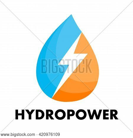 Water Drop Logo With Lightning Hydropower Concept, Vector Art Illustration.