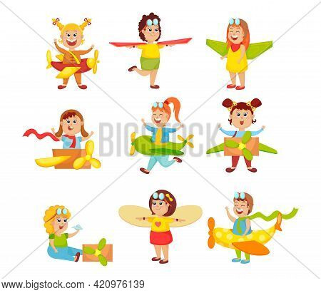 Set Of Cute Funny Little Kids Playing Pilots. Cartoon Vector Illustration. Boys And Girls Characters