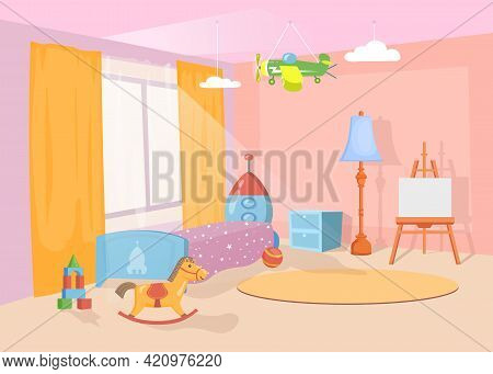 Nursery Interior With Colorful Toys And Furniture. Cartoon Vector Illustration. Cute Bedroom With Ro