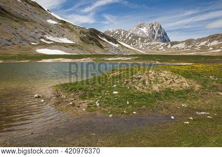 Panoramic View Of Pietranzoni's Lake In The Gran Sasso's National Park And Laga Mountain, Abruzzo