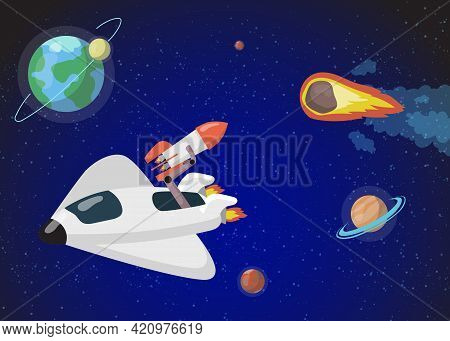 Modern Spacecraft Travelling In Outer Space. Cartoon Vector Illustration. Colorful Planets, Flying R