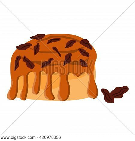 Cinnamon Bun With Nuts. Baked Sweet Roll Doodle Icon. Fresh Swedish Kanelbulle Swirl Pastry. Vector