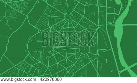 Green Delhi City Area Vector Background Map, Streets And Water Cartography Illustration. Widescreen