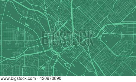 Green Dallas City Area Vector Background Map, Streets And Water Cartography Illustration. Widescreen