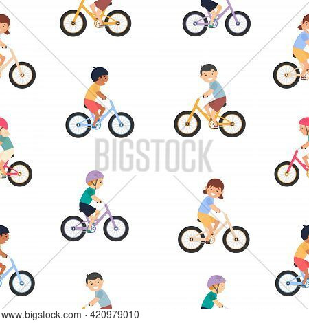 Seamless Child Pattern. Cute Happy Children Riding Bicycles. Different Kids Ride Bikes. Healthy Life