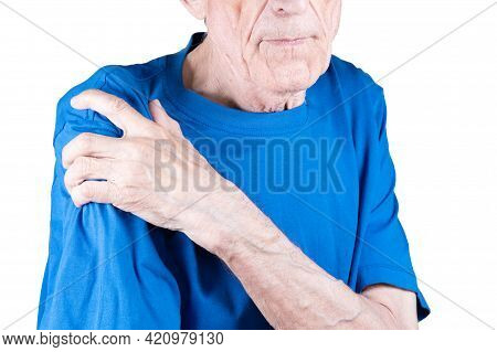 Male Hand Holding Shoulder. Eldery Man Suffering From Pain In Brachium. Bone Disease. Isolated On Wh