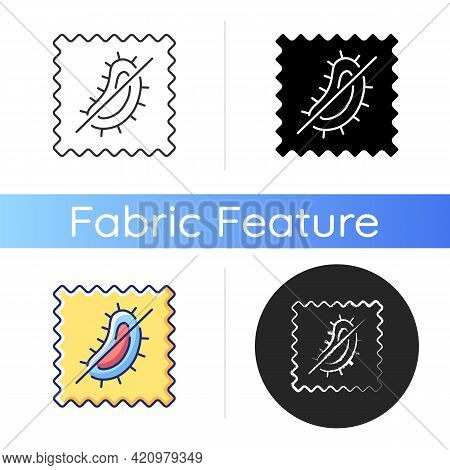 Antimicrobial Fabric Feature Icon. Material Property Against Bacteria And Mold. Healthy Fabric Chara