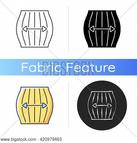 Stretch Fabric Property Icon. Stretchable Synthetic And Knitted Fibers. Special Material For Active