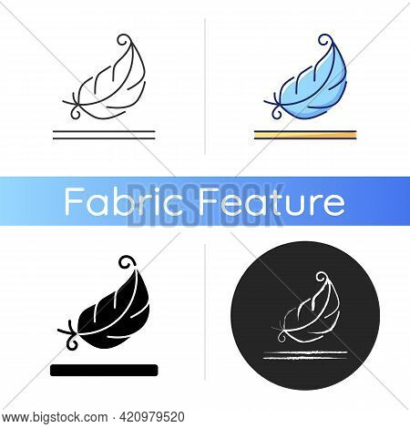 Lightweight Fabric Property Icon. Feather Symbol For Pillows And Blankets. Special Soft Material Pro