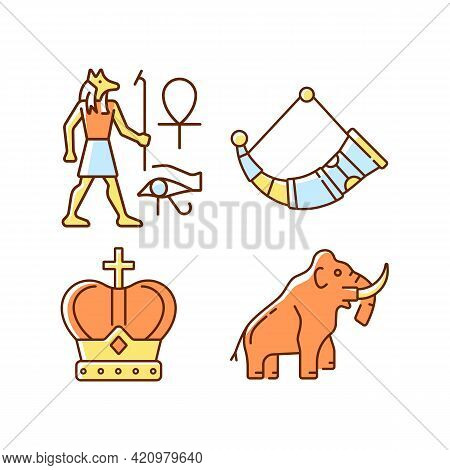 Ancestors Heritage Rgb Color Icons Set. Egyptian Wall Drawings. Drinking Horns. Royal Crown. Mammoth