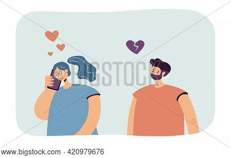 Girlfriend Talking On Phone And Jealous Boyfriend. Heartbroken Male Character, Woman Smiling Flat Ve