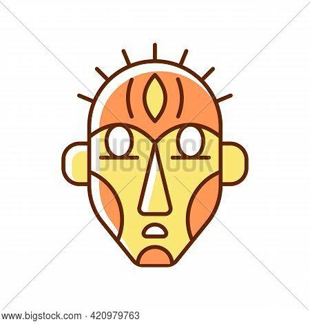 Ritual Masks Rgb Color Icon. Supernatural Beings, Ancestors Representation. Ceremonial Mask. Using B