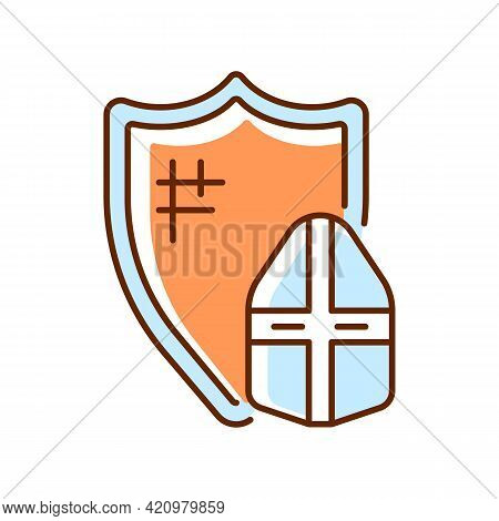 Knight Armor Rgb Color Icon. Medieval Knight Suit. Middle Ages. Helmet, Shield. Jousting. Plate Armo