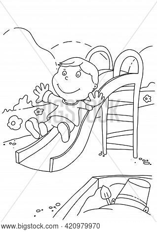Coloring Book Page For Child. The Boy Is Playing In The Yard. Design For Relax And Meditation, Vecto